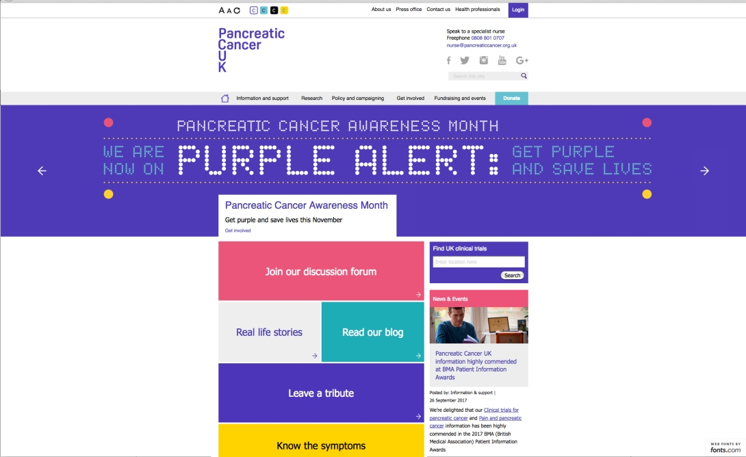 Purple Alert-website screen shot